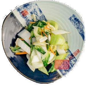 niam niam pe�ena zelenjava s sojino omako, stir fry bok choy with soy sauce
